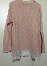 Maglione rosa con bordo makramè, M/L