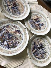 Limoges Vintage Lot of 4 Plates New York Washington Lafayette Battle Scenes