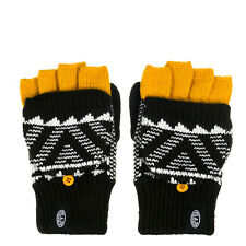 ANIMAL WOMENS GLOVES.NEW POZZA FLIP BLACK KNITTED FINGERLESS MITTENS 7W 302 002