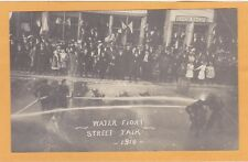 Real Photo Postcard RPPC - Water Fight with High Power Hose Street Fair 1910
