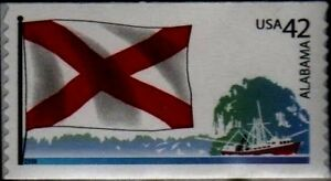 ALABAMA STATE FLAG US 2008 SCOTT #4274 FLAGS OF OUR NATION SET I - MVF 42c STAMP