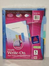 Avery Write On Plastic Dividers With Expandable Pockets 5 Tabs 16183