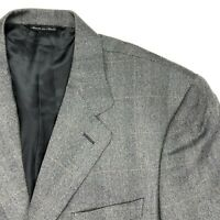 Canali Men's 3-Button Wool Blazer Plaid Gray Herringbone • Italy • 42 R