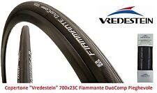 """Copertone Vredestein Fiammante DuoComp 700x23C Nero per Bici 28"""" Corsa - Pista"""