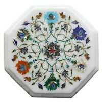 Multi Gemstones Inlaid Royal Side Table Top Marble Coffee Table Size 13 Inches