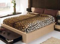 Copriletto Leopardato Morbidissima Coperta Matrimoniale Leopardo Marrone Velluto