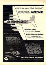 1950 Trans Canada Air Lines PRINT AD Coast to Coast Fun Simple Decor Piece