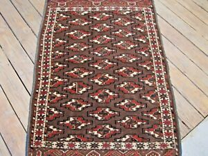 ANTIQUE  1900 TURKOMAN  SMALL RUG FULL PILE VERY NICE GREEN COLOR