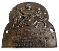 LARGE - Antique Style HEAVY CAST JOHN PORT MANCHESTER SAFE PLATE - BRASS (5131)