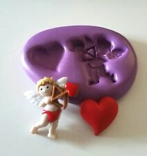 CUPID 'n' HEART Silicone Mould 28 mm Valentine Fondant Fimo Cake Decorate Icing