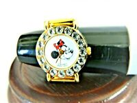 MINNIE MOUSE DISNEY RING WATCH WITH CRYSTALS AROUND FACE & GOLD STRETCH BAND
