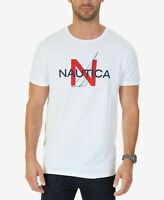 $115 Nautica Men'S White Blue Red Crew-Neck Short-Sleeve Logo Graphic T-Shirt XL