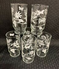 Set Of (6) VINTAGE Flowers and Butterfly Drinking Gkasses.