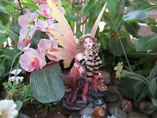 """6"""" Curly haired Fairy figurine with dragon & mushrooms New In Box"""
