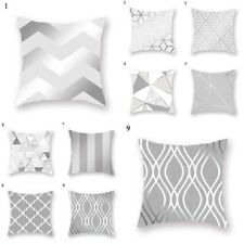 Silver Gray Geometric Throw Pillow Case Cushion Cover Sofa Office Home Decor