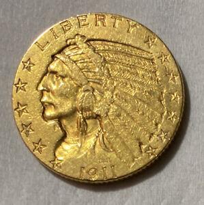1911 S Gold Indian Head $5.00 Half Eagle Coin