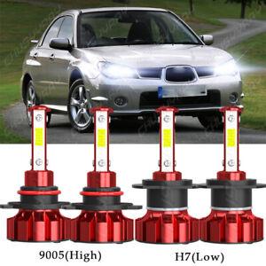 For Subaru Impreza 2006 2007 4PC LED Headlight Bulbs High & Low Beam Combo 6000K