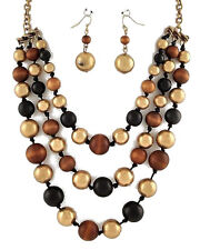 F1 Beaded NECKLACE EARRING SET Goldtoned Earth Gold Tones