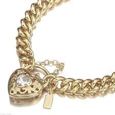 18K Yellow Gold GL Women's Solid Medium Euro Bracelet & Crystal Filigree Heart