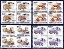 Hippopotamus Wild Animals, Burundi 2011 MNH 4v Blk 4 - A76