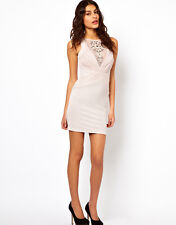 Lipsy ruched mesh beaded dress nude size 10 BNWT