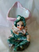 "Vintage Occupied Japan 4 3/4""Green Pixi Elf 50's Ceramic Vase Planter Ex Marked"