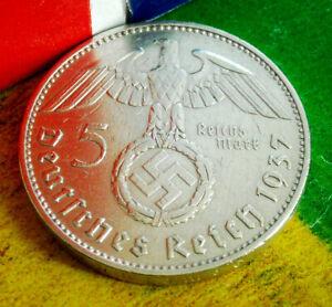 X-RARE 1937-E 5 ReichsMark .900 SILVER NAZI SWASTIKA WW2 COIN-German WW2 GERMANY