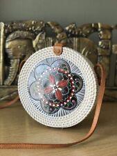 Authentic Bali Rattan Roundie Lantern Painted Sling Bag 20cm