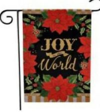 "Joy to the World Garden Flag Red Poinsettias 12"" x 18"" Christmas Welcome Winter"