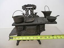 Vintage Mini Crescent Cast Iron Toy Wood Stove Salesman Sample + Accessories