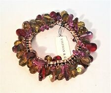 STEPHAN & CO COPPER PLATED PURPLE GREEN LUCITE BEADED STRETCH BRACELET