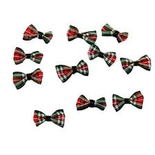 Pack of 50 Red & Green Tartan Bows - Christmas Ribbon Gift Decorations