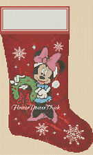 Cross stitch chart  Christmas Stocking minnie mouse  FlowerPower37..