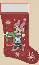 Cross stitch chart christmas stocking Minnie Mouse Flowerpower 37...