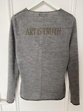 Pull laine mérinos Zadig & Voltaire clouté Art is Truth M 36 38 chiné gris