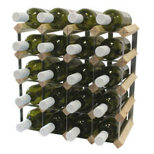 20 Bottle Fully Assembled Wooden Wine Rack - Natural Pine & Galvanised Steel