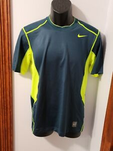 Nike Pro Combat Athletic Green & Yellow Shirt Men's Fitted Small