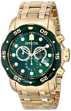 Reloj Invicta Green Face Crystal Gold Steel Case Bracelet Man Watch Hombre Hand