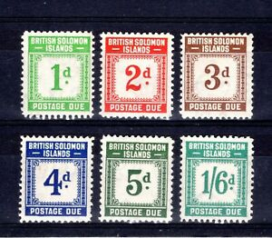 SOLOMON ISLANDS 1940 POSTAGE DUES sgD1-5 +D8 VERY LIGHT MOUNTED MINT CAT £81.50