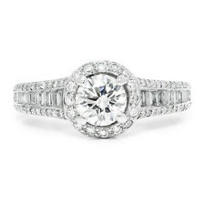 Round Diamond Halo Engagement Ring with Accents in 18kt White Gold 1.29ctw