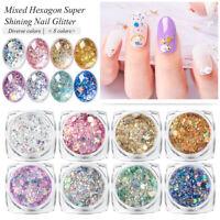 8X Nail Art Glitter Powder Dust UV Gel Acrylic Sequins Broken Flakes Nails Tips