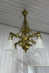 ANTIQUE MISSION GREAT ORNATE WITH FACES 4 ARMS BRASS CHANDELIER GLASS SHADE