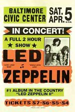 Vintage Concert Poster Rare Led Zeppelin Baltimore Maryland 16x20