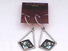 MEXICAN SILVER ALPACA 25mm.DROP EARRINGSwithABALONE MOON & HEART DESIGN £4.99nwt