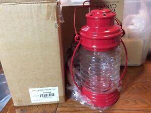New 2009 Yankee Candle Hanging Glass Red Retro Lantern Vase Votive Holder Farm