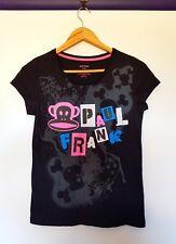 Paul frank womens size 8 black short sleeve graphic skull graffiti look top