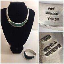 Chocker Collar Necklace & Bracelet Set Mexico Td-55 Sterling Silver Geen Enamel