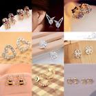 HOT Women 925 Sterling Silver/Gold Crystal Rhinestone Ear Stud Earrings Fashion