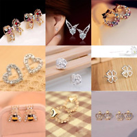 HOT Women 925 Sterling Silver/Gold & Metal Crystal Rhinestone Ear Stud Earrings
