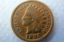 1893 INDIAN HEAD CENT, Vintage 1893 INDIAN HEAD BRONZE PENNY, Fine Circulated